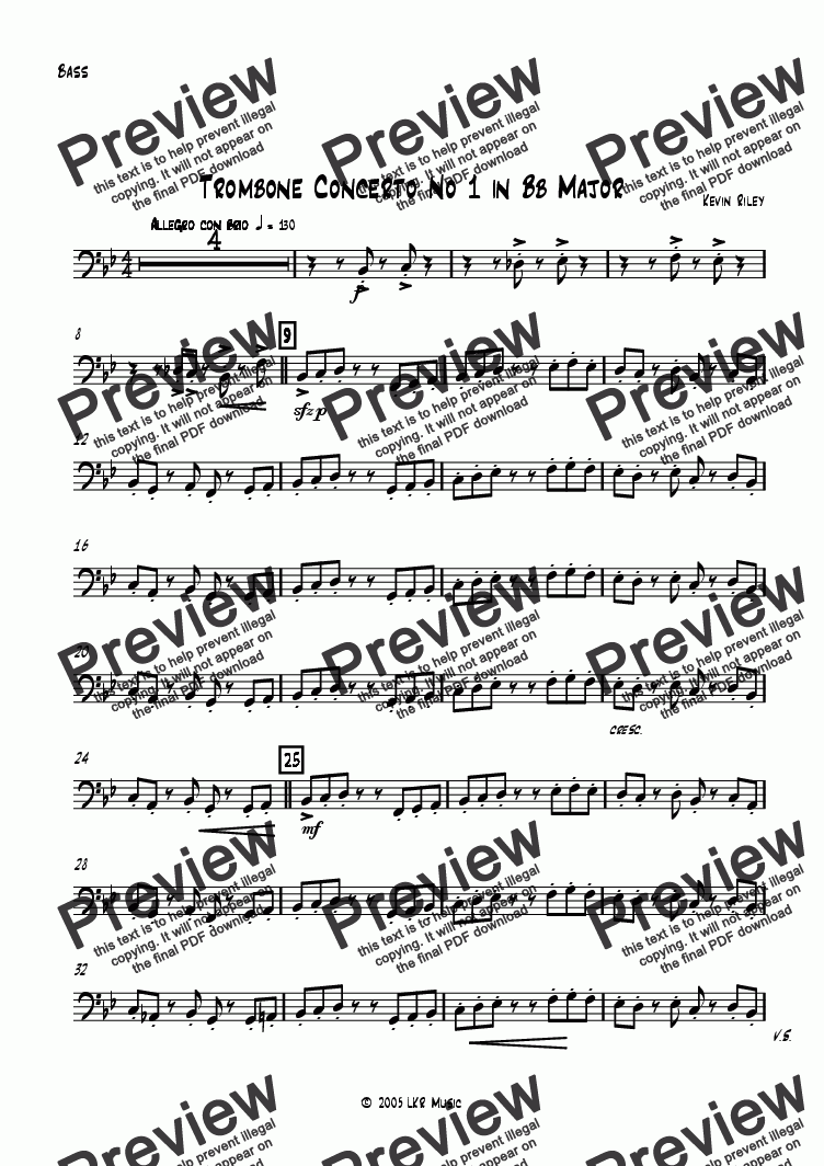 page one of the Bass part from Trombone Concerto No 1 in Bb Major