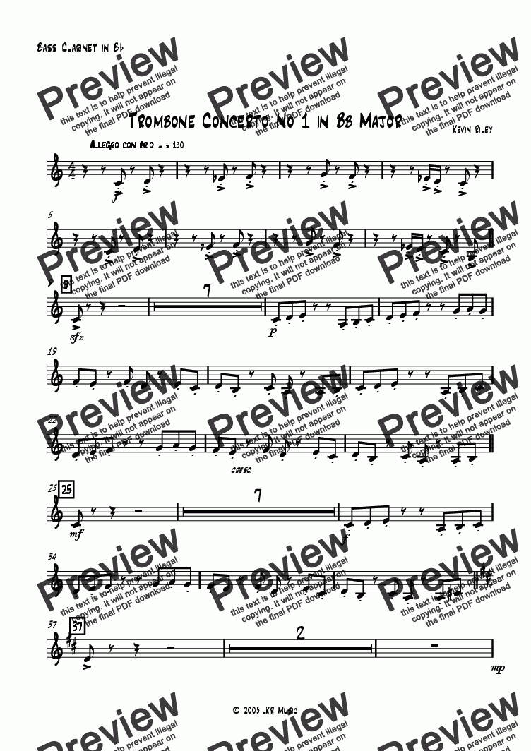 page one of the Bass Clarinet part from Trombone Concerto No 1 in Bb Major