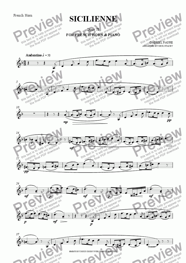 page one of the French Horn part from Sicilienne