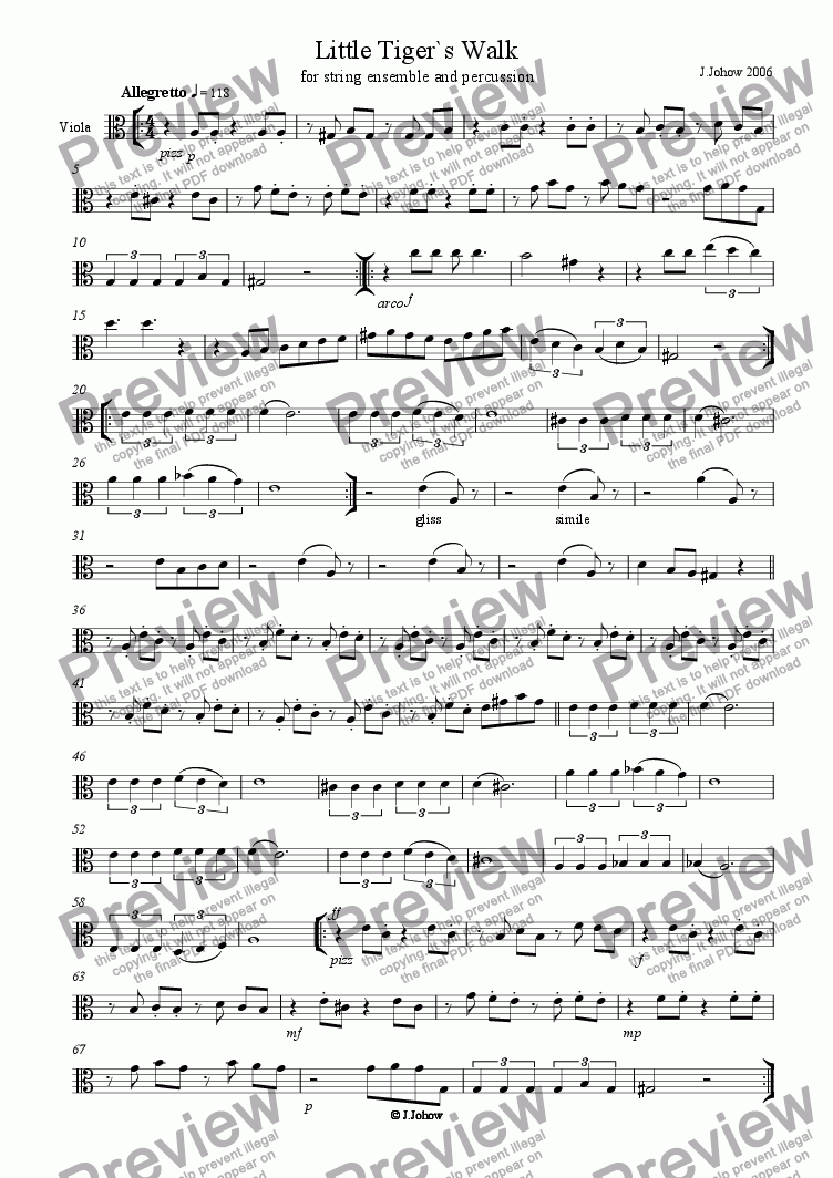 page one of the Vla part from Little Tiger`s Walk (String Orchestra)