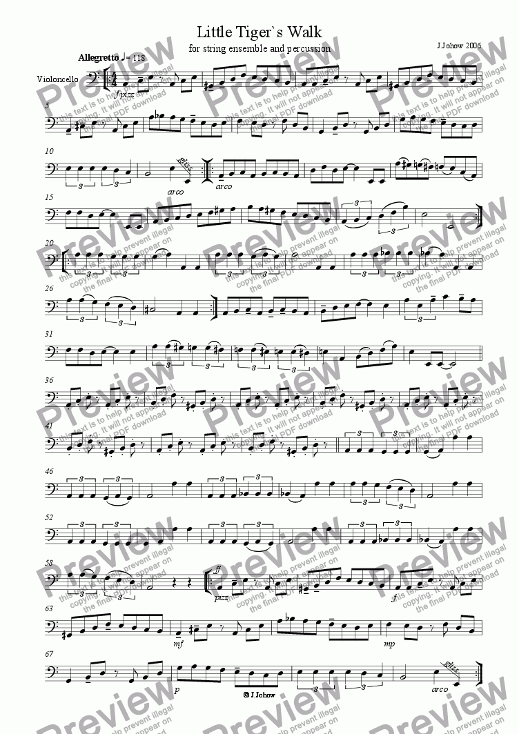 page one of the Vlc part from Little Tiger`s Walk (String Orchestra)