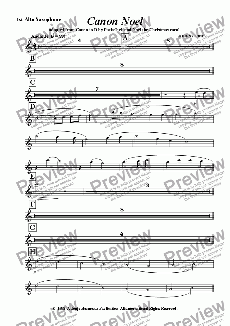 "page one of the 1st Alto Saxophone part from Canon Noel   ""Christmas Festival"" Concert Windband"