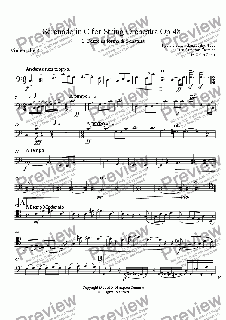 page one of the Cello 3 part from Serenade in C for String Orchestra, Pezzo in forma di Sonatina, Op 48, Tchaikovsky