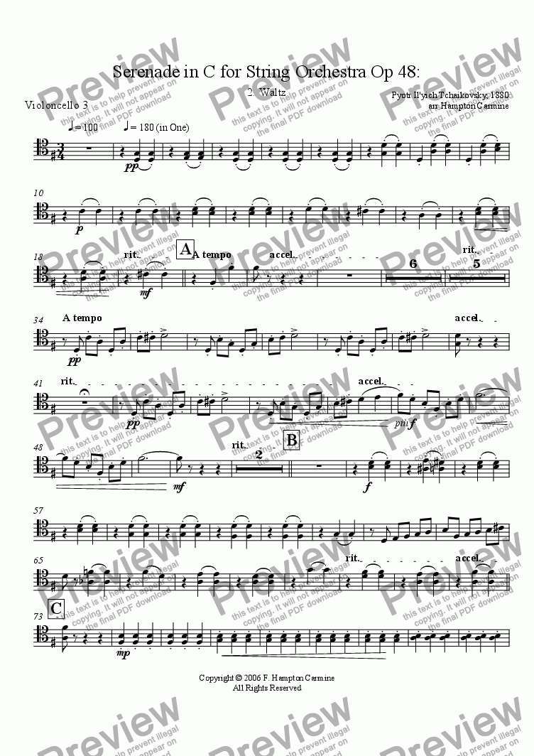 page one of the Cello 3 part from Serenade in C for String Orchestra, Waltz, Op 48, Tchaikovsky