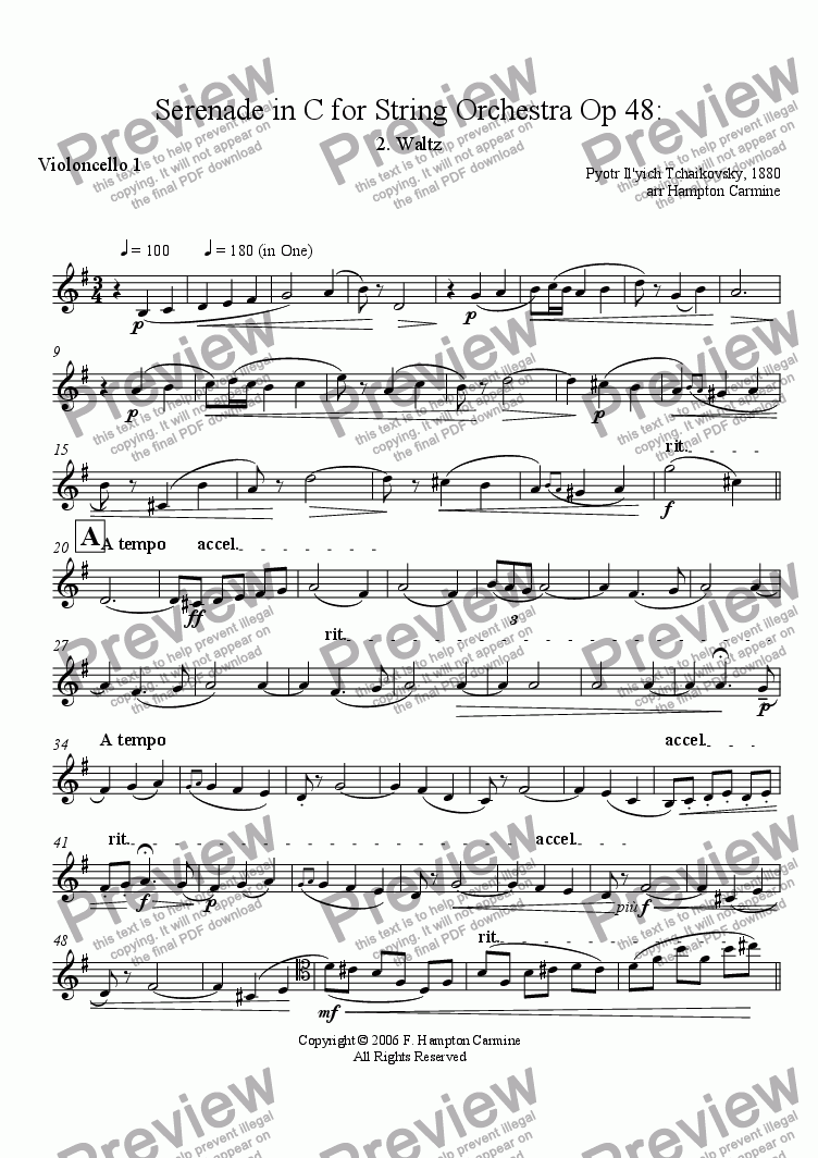 page one of the Cello 1 part from Serenade in C for String Orchestra, Waltz, Op 48, Tchaikovsky