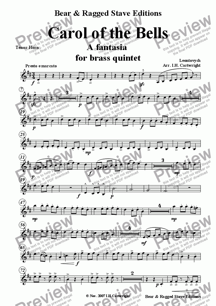 page one of the tenor horn part from Carol of the Bells - a fantasia for brass quintet
