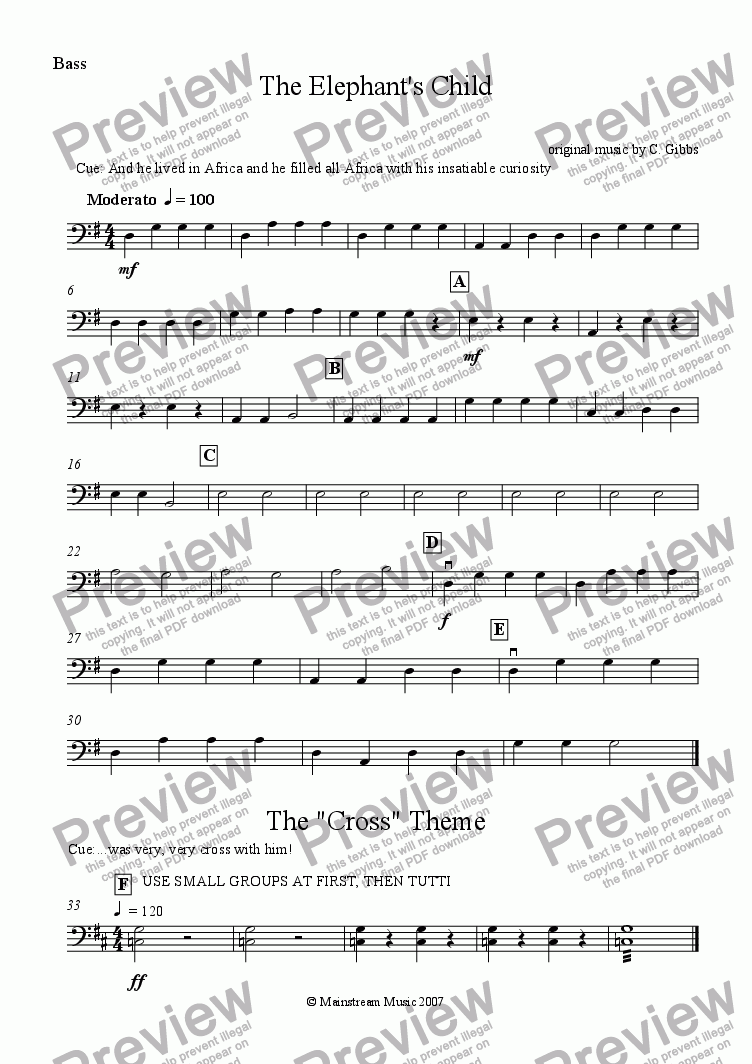 page one of the Bass part from The Elephant's Child