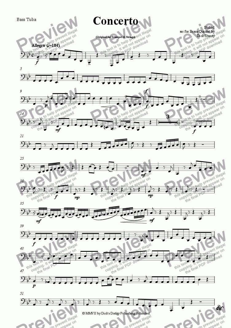 page one of the Tuba part from Concerto in B flat - Stolzel