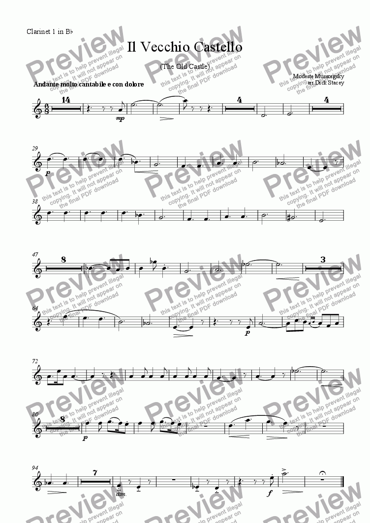 page one of the Clarinet 1 part from The Old Castle - Clarinet Quintet