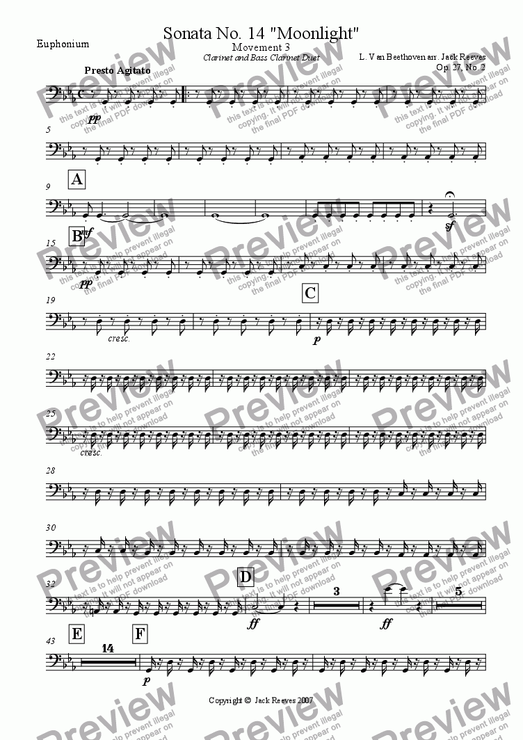 page one of the Euphonium part from Moonlight Sonata - 3rd Movement (C Minor) - Wind Band with Clarinet and Bass Clarinet Duet