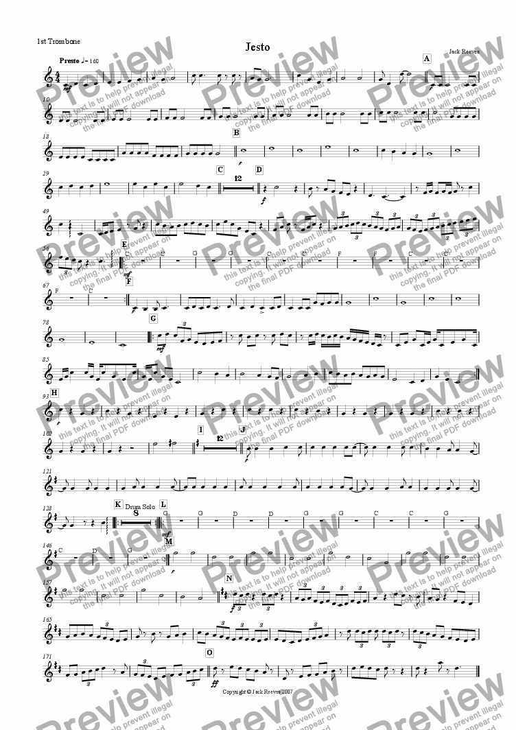 page one of the 1st Trombone part from Jesto (Brass Band)