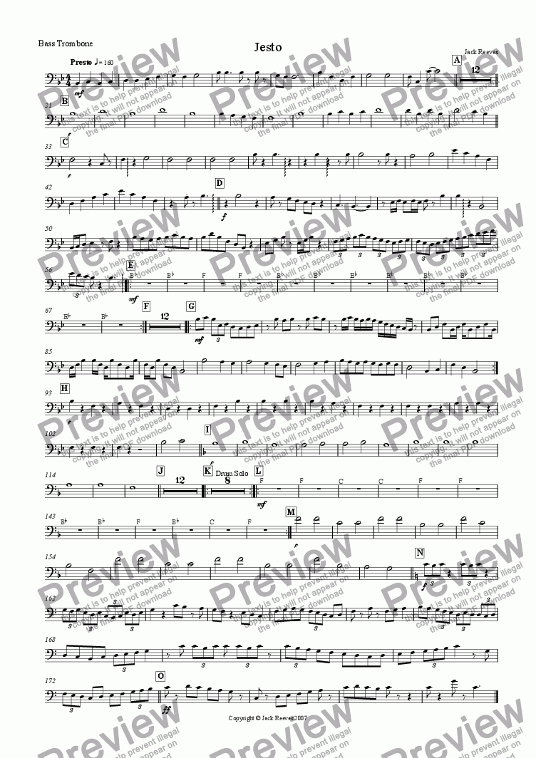 page one of the Bass Trombone part from Jesto (Brass Band)