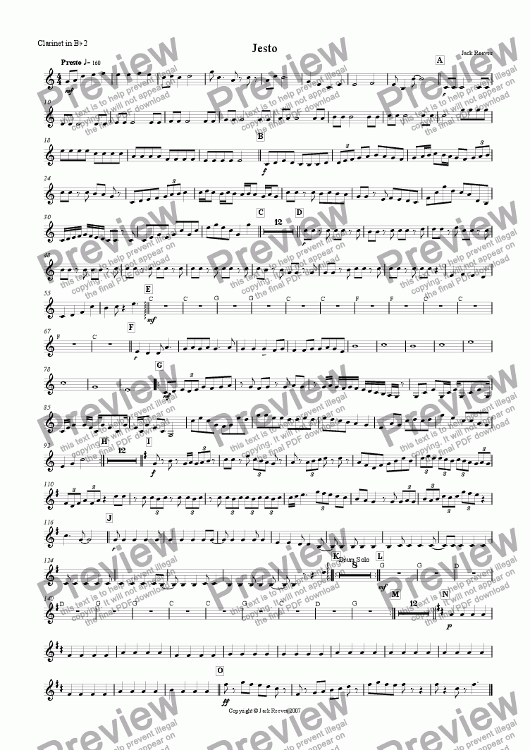 page one of the 2nd Clarinet part from Jesto (Wind Band)