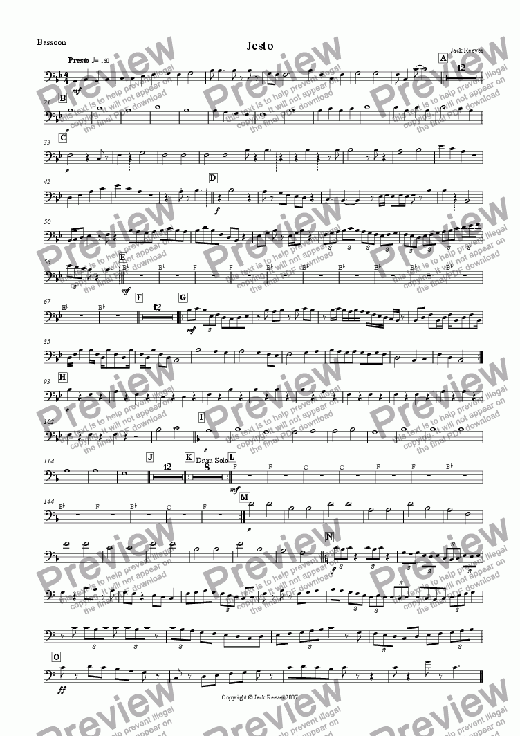 page one of the Bassoon part from Jesto (Wind Band)