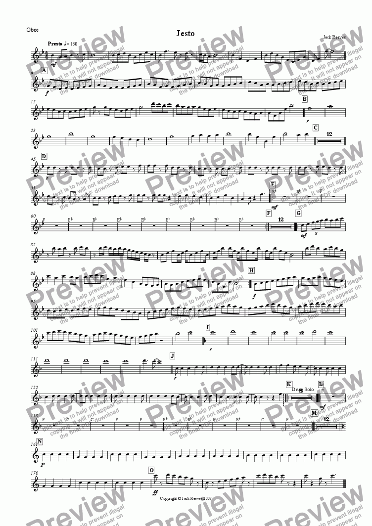 page one of the Oboe part from Jesto (Woodwind)