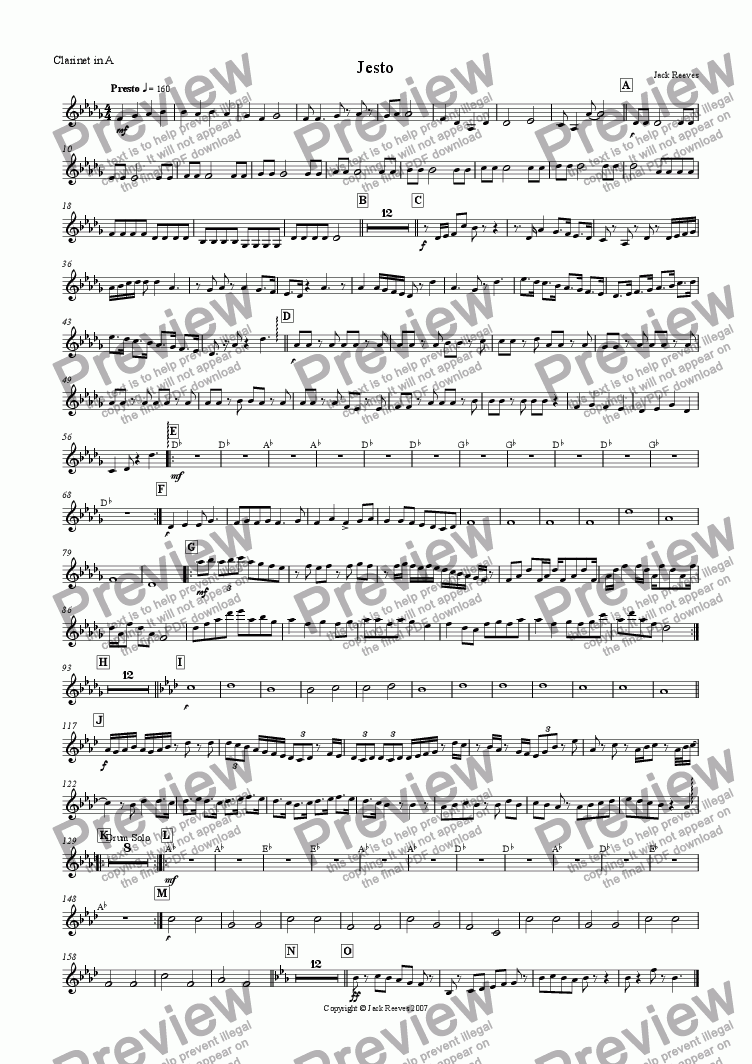 page one of the Clarinet in A part from Jesto (Woodwind)