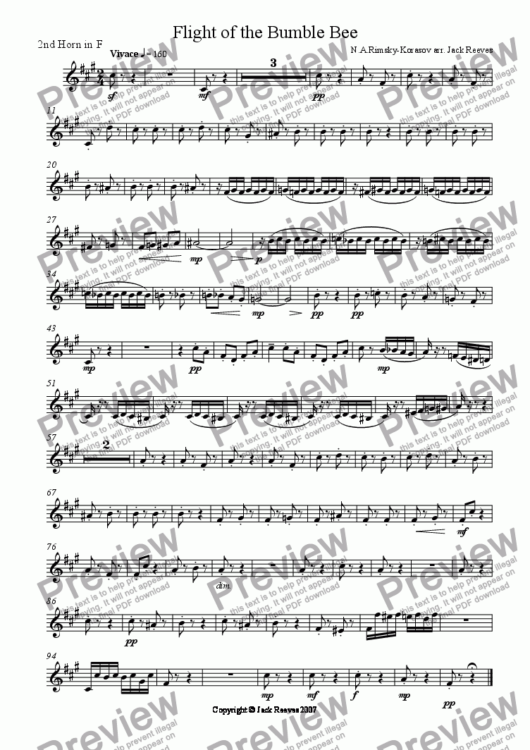 page one of the 1st Horn in F part from Flight of the Bumble Bee (Wind Band - Flute Solo)