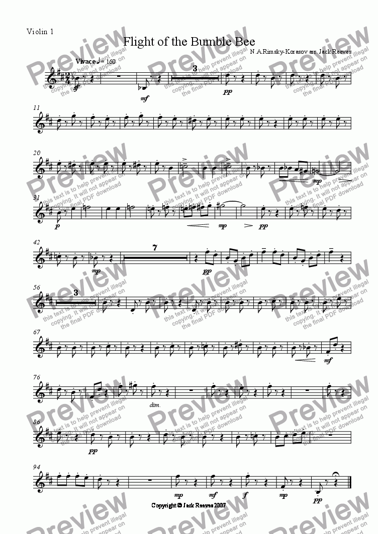page one of the 1st Violin part from Flight of the Bumble Bee (Orchestra - Flute Solo)