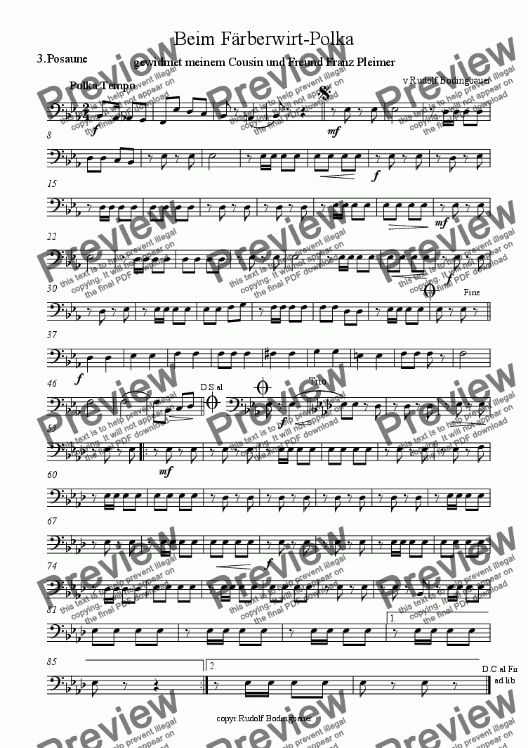 page one of the posaune 3 part from Beim Faerberwirt-Polka