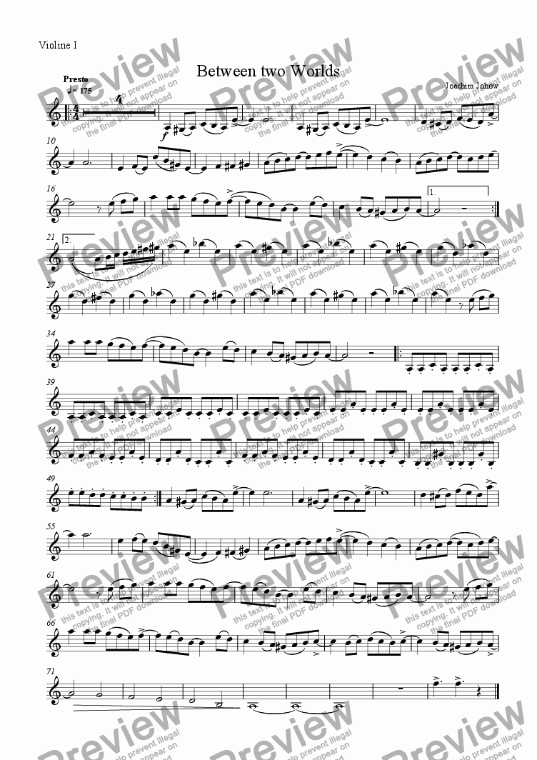 page one of the 1. Vl part from Between Two Worlds (String Orchestra and Piano)