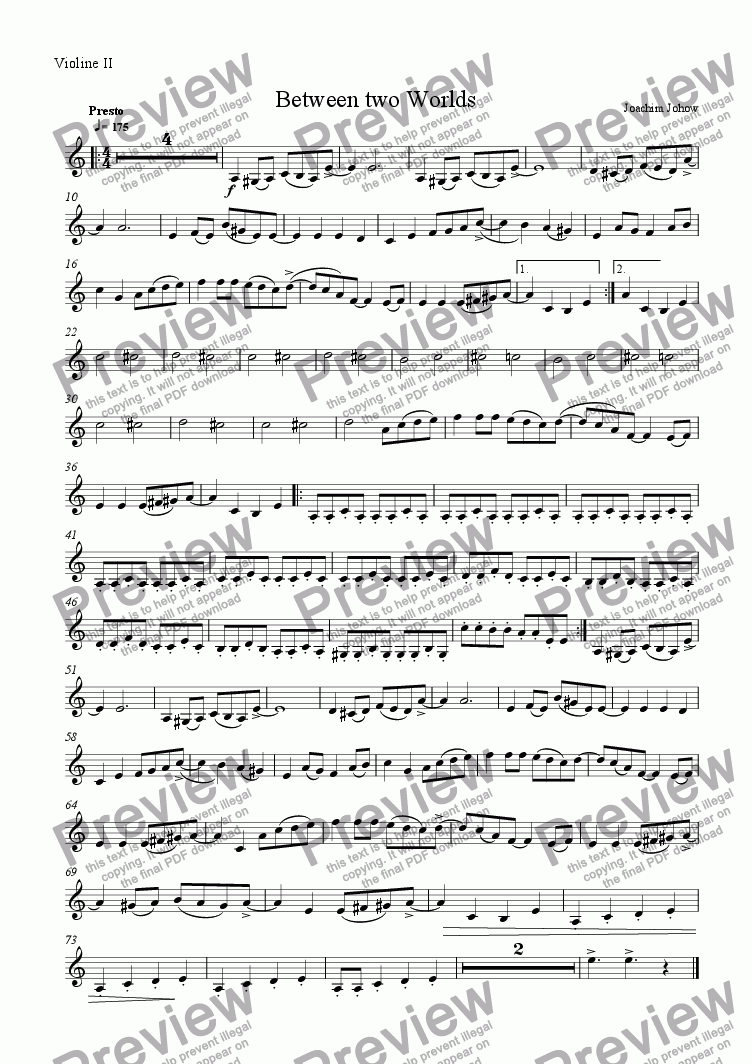 page one of the 2. Vl part from Between Two Worlds (String Orchestra and Piano)