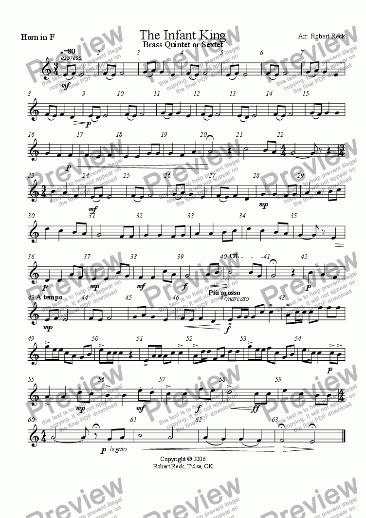 page one of the F Horn part from The Infant King (Brass Quintet, Sextet, or Choir