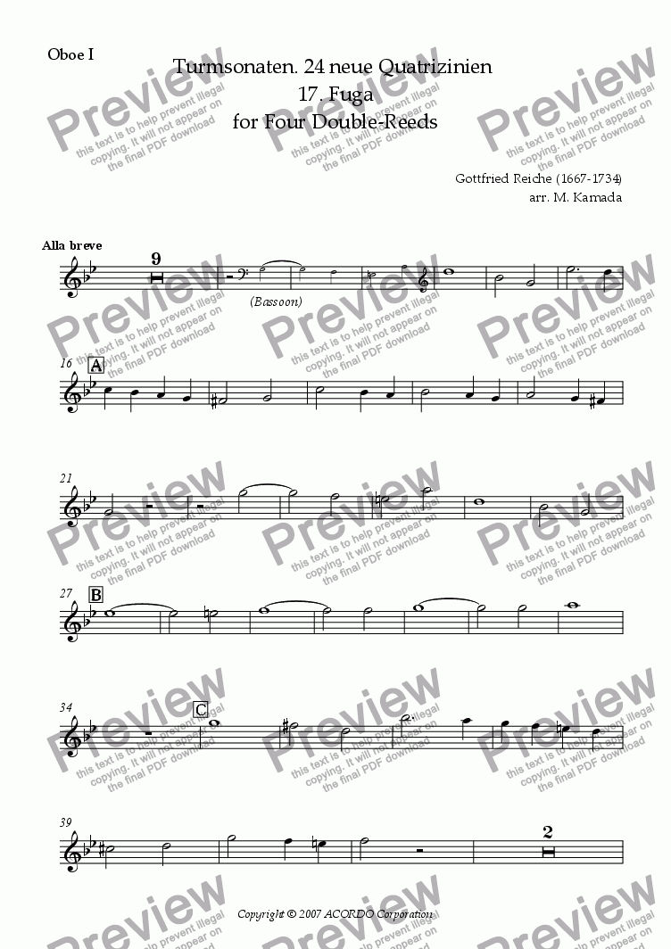 page one of the Oboe I part from Turmsonaten. 24 neue Quatrizinien 17. Fuga for Double-Reeds