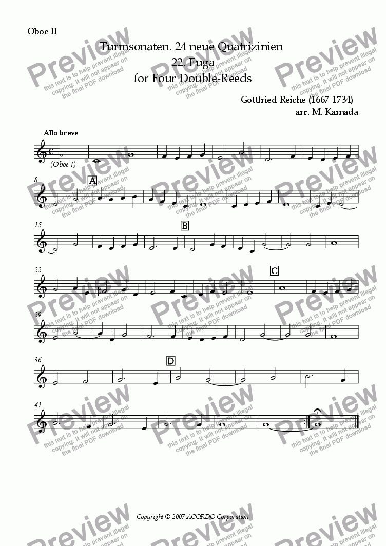 page one of the Oboe II part from Turmsonaten. 24 neue Quatrizinien 22. Fuga for Double-Reeds