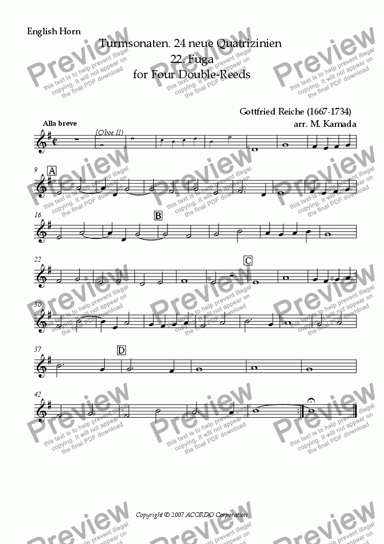 page one of the English Horn part from Turmsonaten. 24 neue Quatrizinien 22. Fuga for Double-Reeds