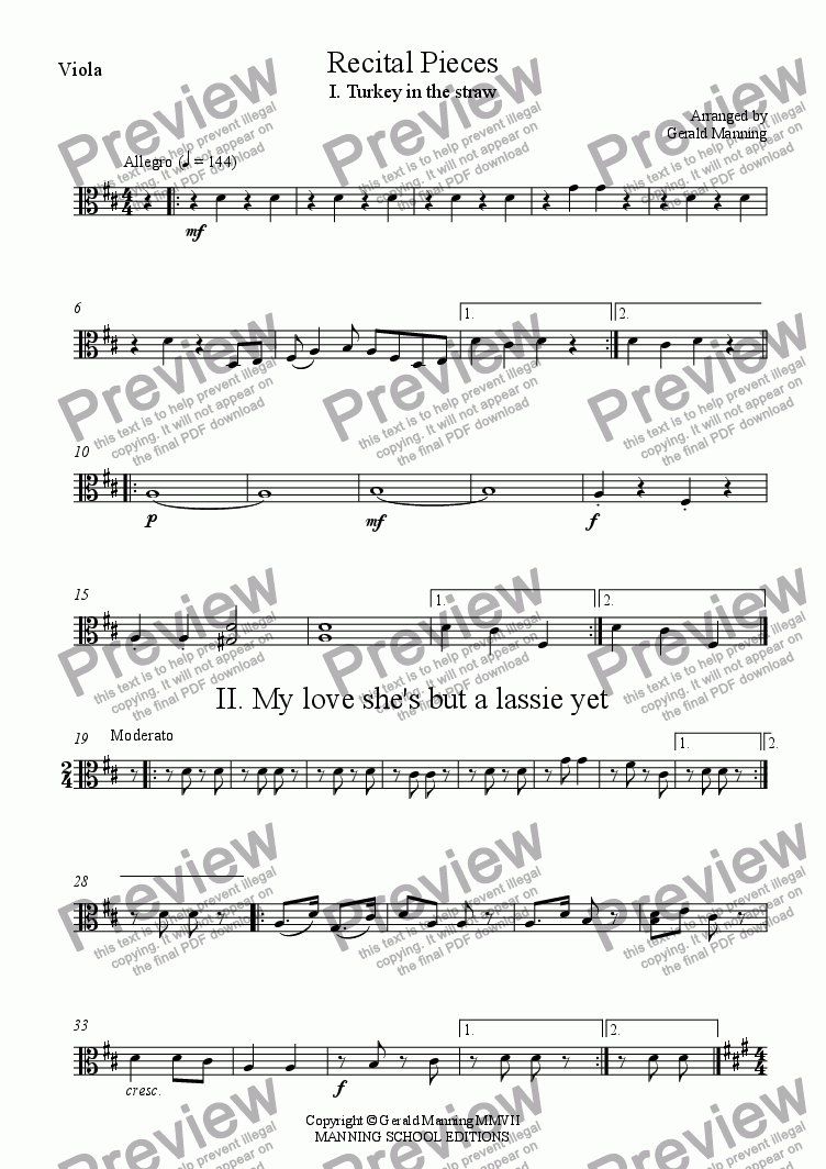 page one of the Viola part from String Quartets for Schools - Recital Pieces Vol. 1 - Traditional works in easy arrangements for String Quartet by Gerald Manning