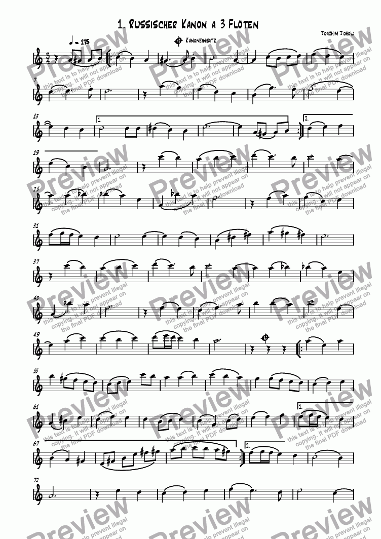 page one of the Fl part from Flute Round 01 (Russian Round)