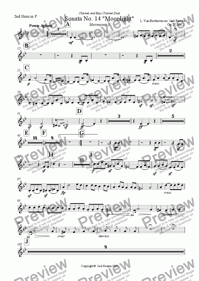 page one of the 2nd Horn in F part from Moonlight Sonata - 3rd Movement (C Minor) - Orchestra with Clarinet and Bass Clarinet Duet