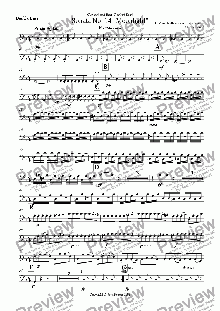 page one of the Double Bass part from Moonlight Sonata - 3rd Movement (C Minor) - Orchestra with Clarinet and Bass Clarinet Duet