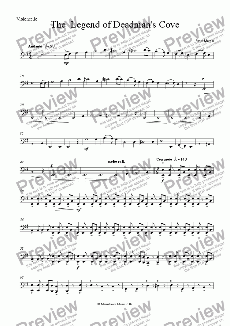 page one of the Cello part from The Legend of Deadman's Cove
