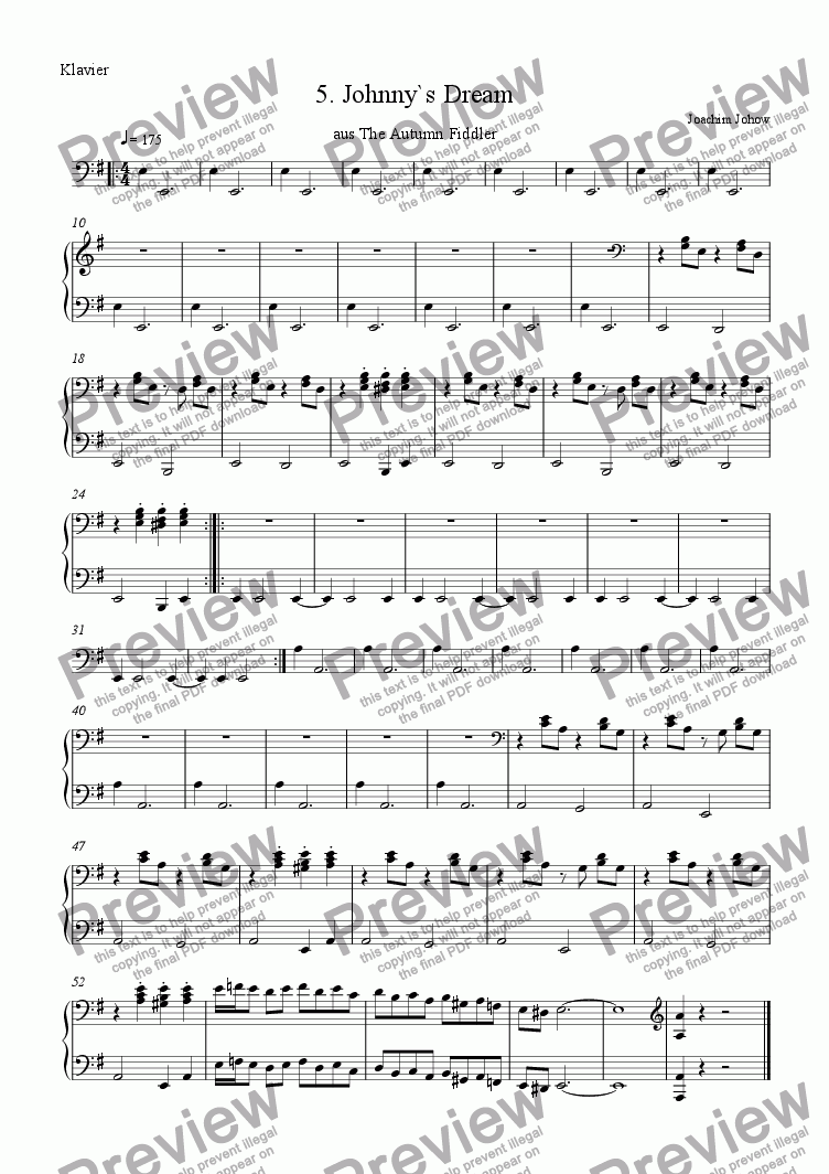 page one of the Piano Harp part from Autumn Fiddler 05 (Johnny`s Dream)
