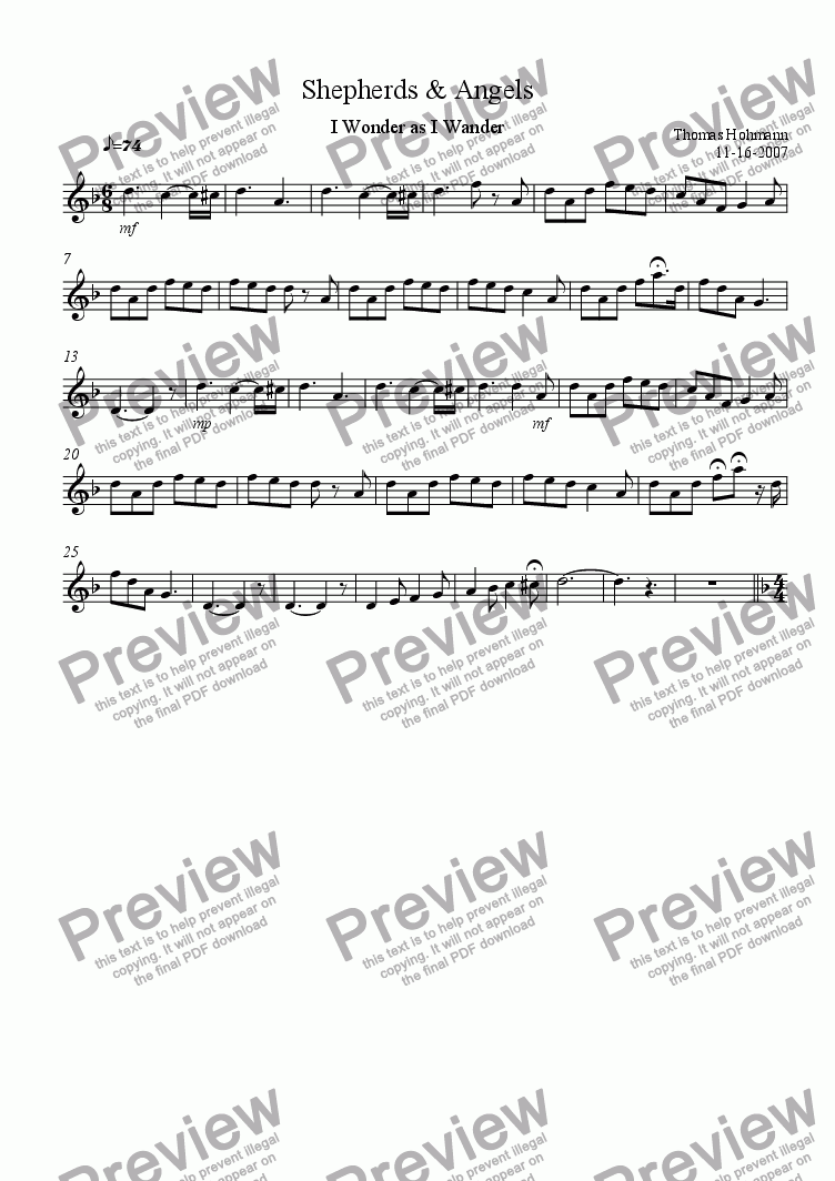 page one of the Flute - Student part from Shepherds & Angels