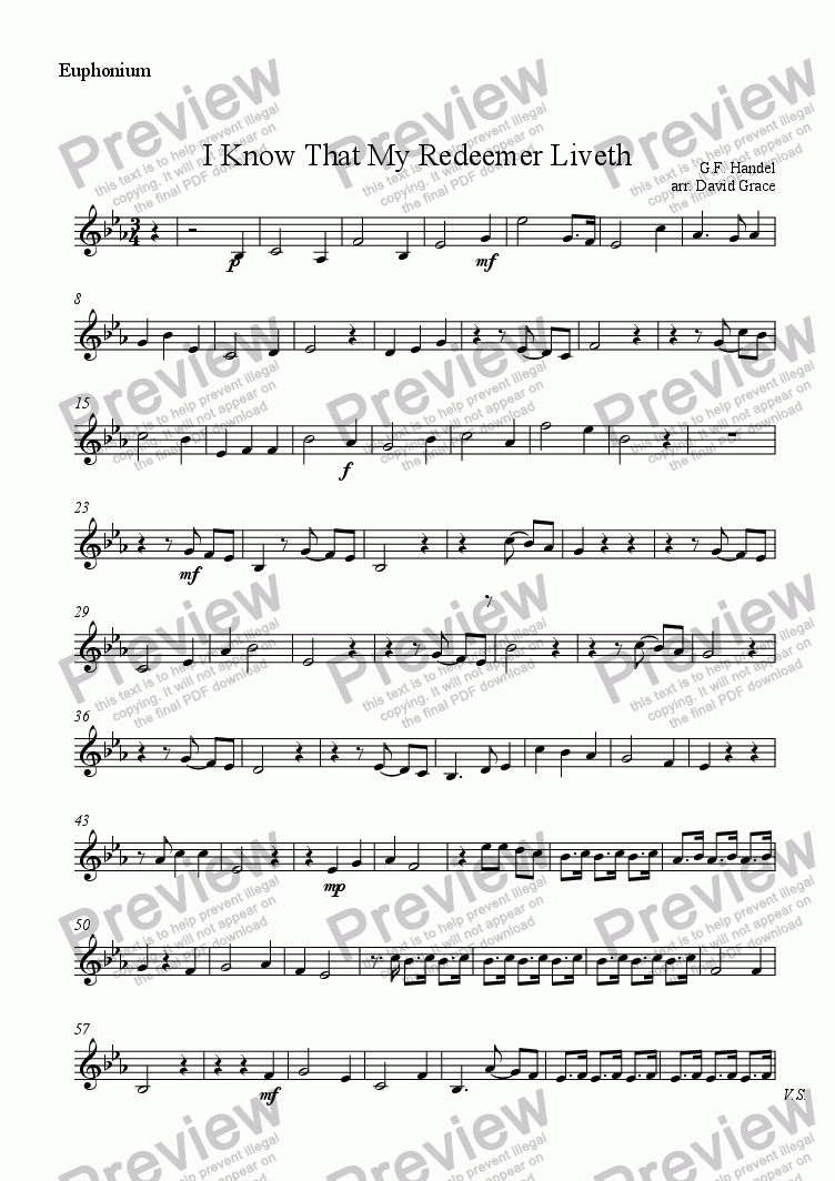 page one of the Euphonium part from I Know That My Redeemer Liveth