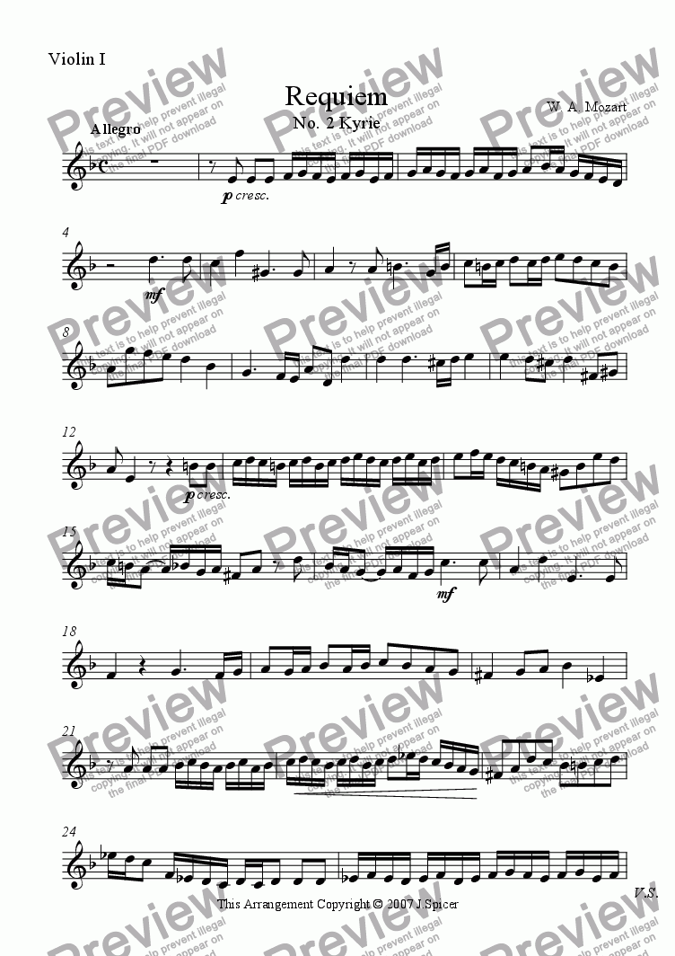 page one of the Violin I part from Requiem: Kyrie Eleison