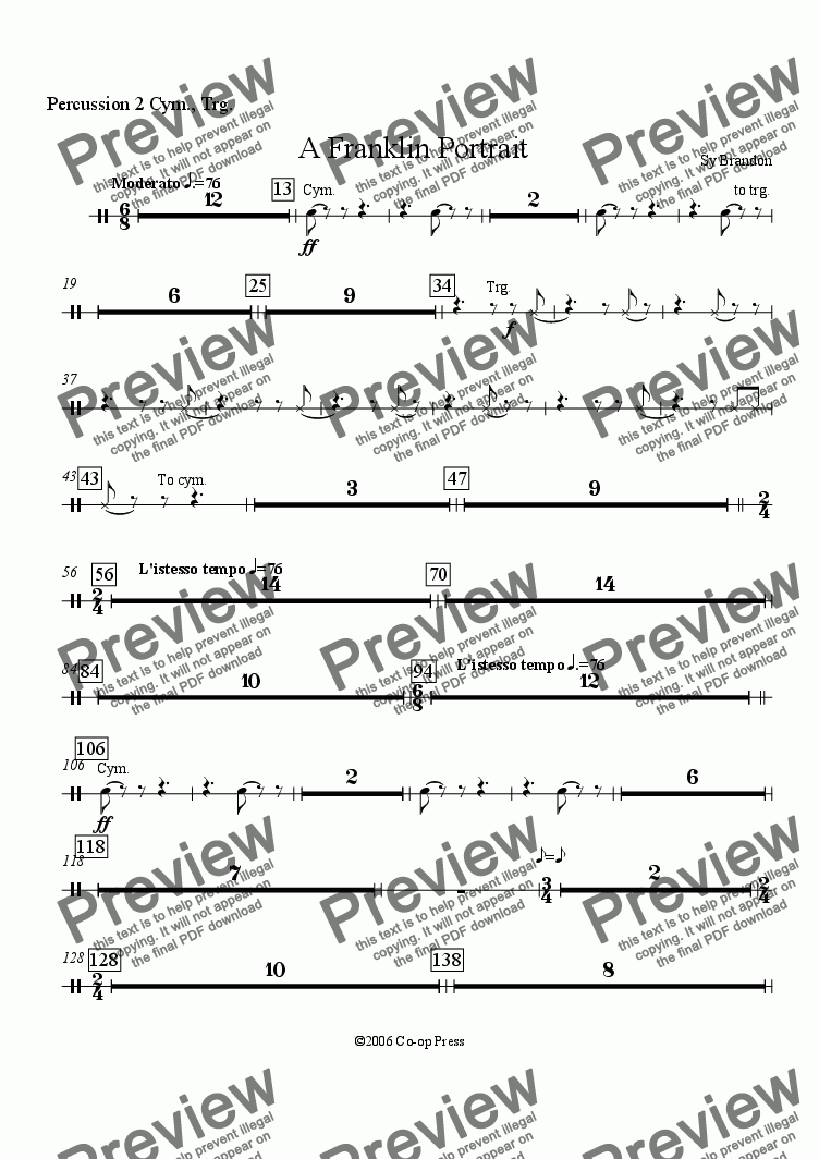 page one of the Percussion 2 part from A Franklin Portrait for Orchestra