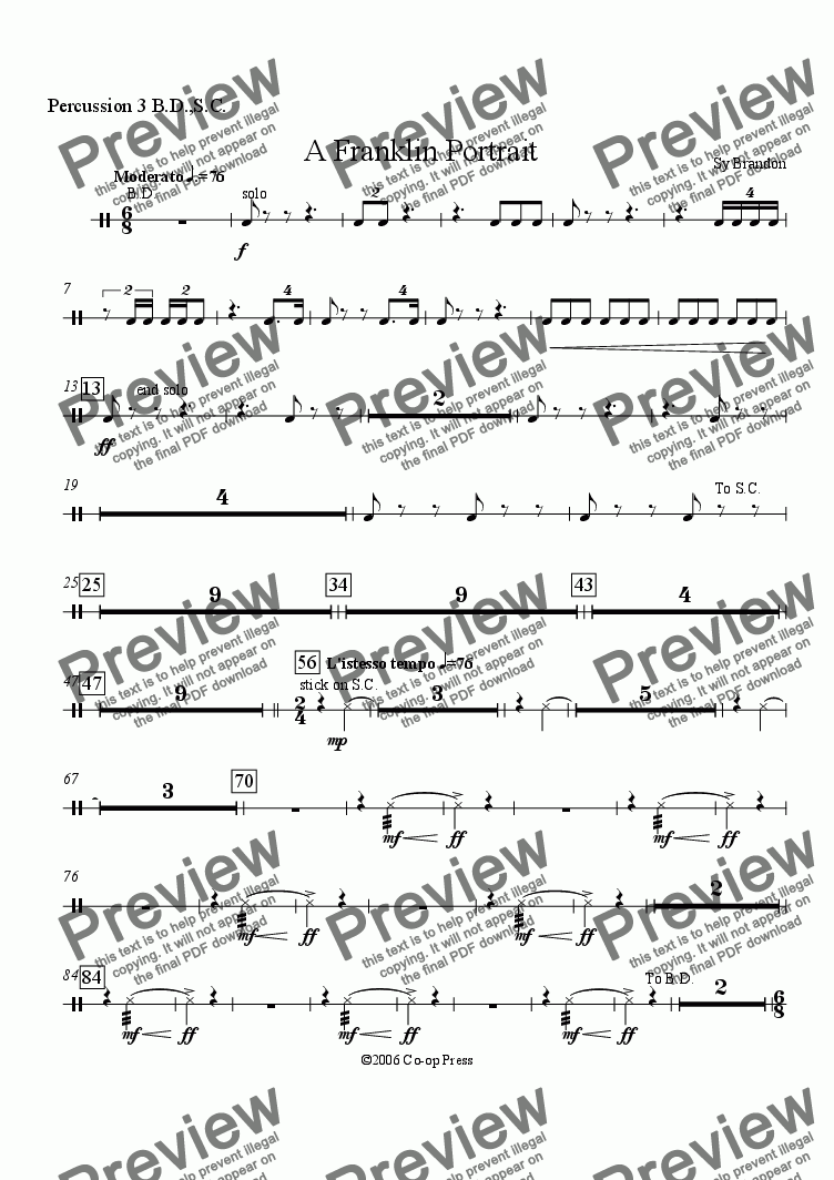 page one of the Percussion 3 part from A Franklin Portrait for Orchestra