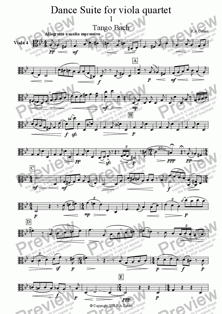 page one of the Viola 4 part from DANCE SUITE - for viola quartet