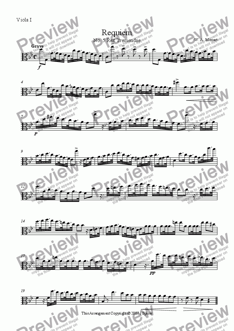 page one of the Viola I part from Requiem: Rex Tremendae