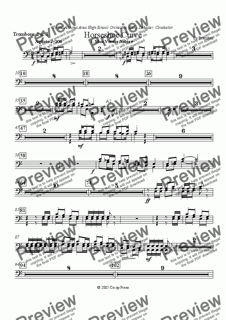 page one of the Trombone 2 & 3 part from Horseshoe Curve