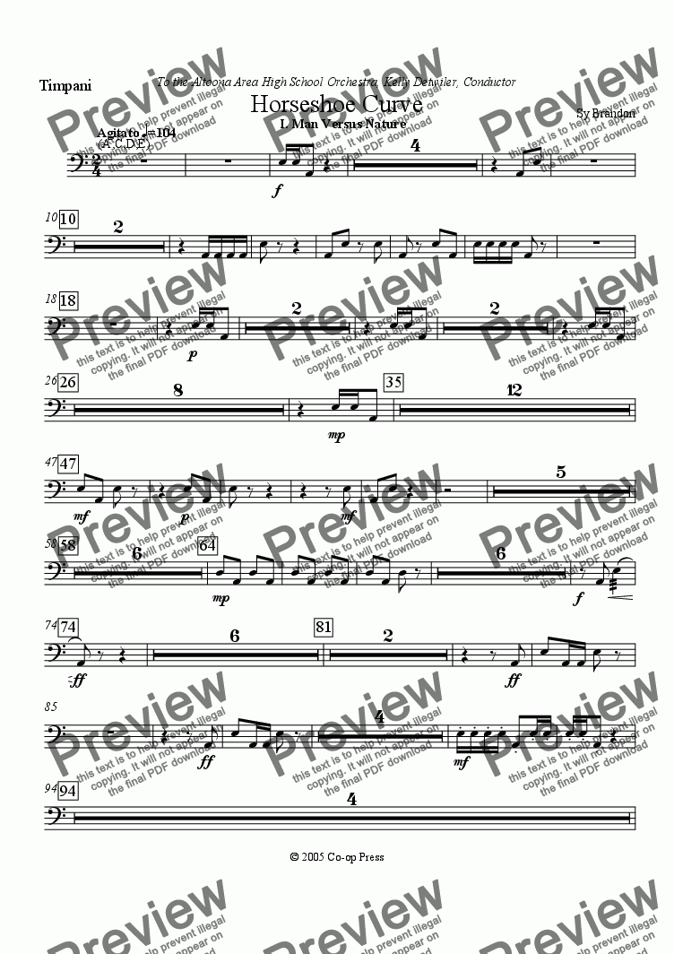 page one of the Timpani part from Horseshoe Curve