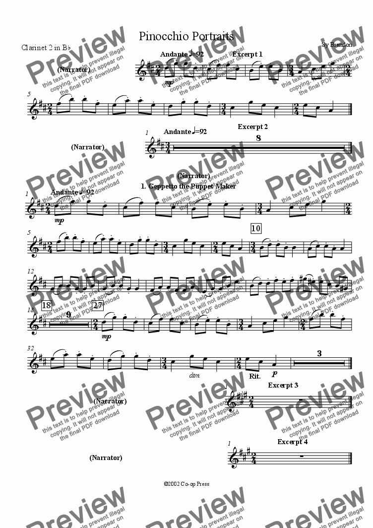 page one of the Clarinet 2 in Bb part from Pinocchio Portraits for Orchestra and Narrator