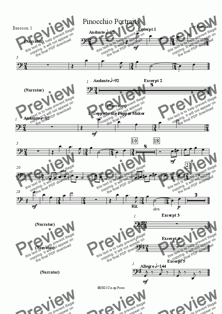 page one of the Bassoon 1 part from Pinocchio Portraits for Orchestra and Narrator