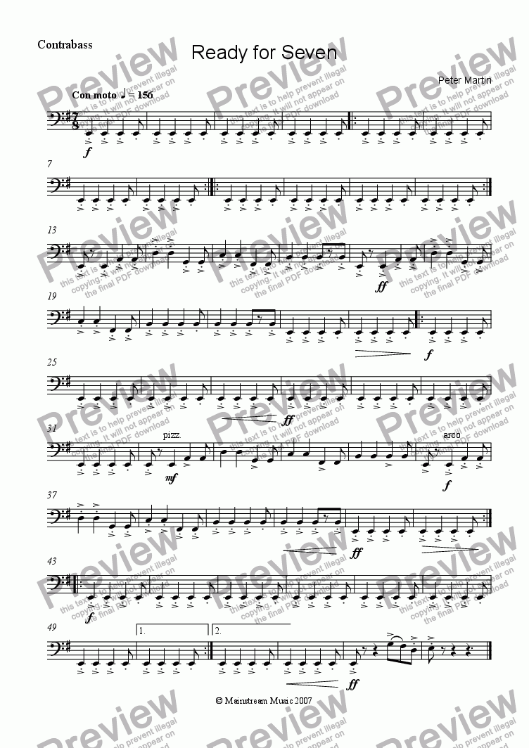 page one of the Bass part from Ready For Seven