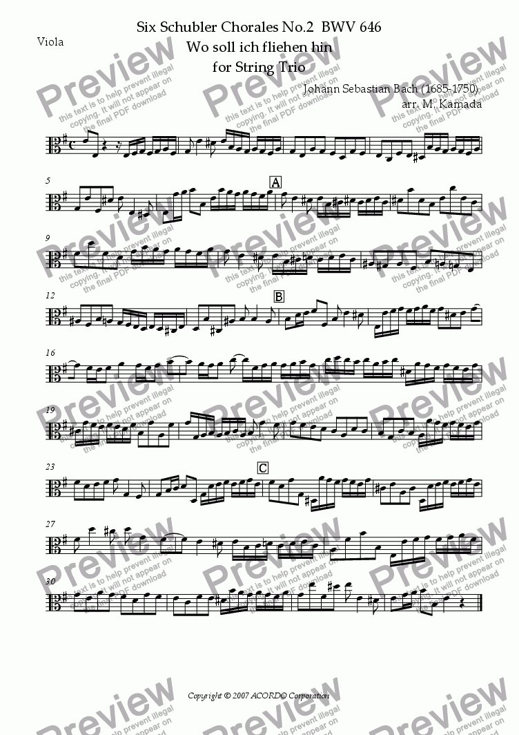 "page one of the Viola part from Six Schubler Chorales No.2 BWV646 ""Wo soll ich fliehen hin"" for String Trio"