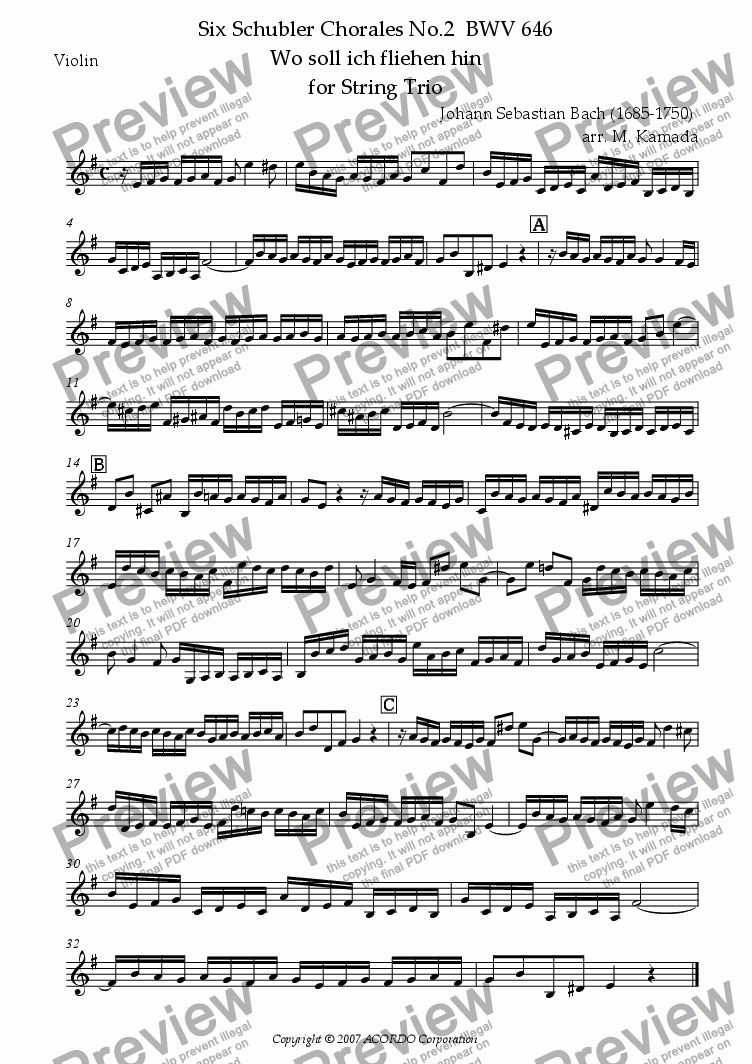 "page one of the Violin part from Six Schubler Chorales No.2 BWV646 ""Wo soll ich fliehen hin"" for String Trio"