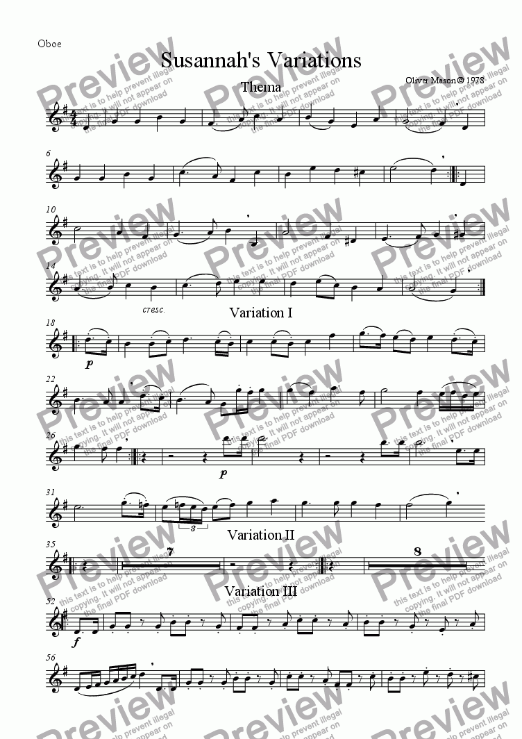 page one of the oboe part from Susannah's Variations